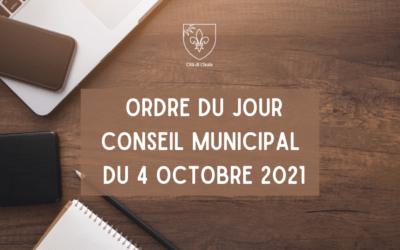 Ordre du jour du conseil municipal du 4 octobre 2021